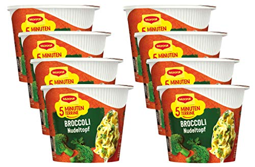 Maggi 5 Minuten Terrine Broccoli Nudeltopf, 8er Pack (8 x 50g)