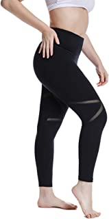 YOHOYOHA Women's Yoga Pants Plus Size Breathable Mesh Splice Tummy Control Best Long Workout Fitness Pants for 4 Way Stretch