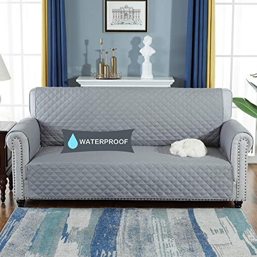 YESHOME Sofa Cover Slipcovers-Quilted Upgrade Anti-Slip Couch Covers-Waterproof Sofa Protector with Elastic Strap-Furniture Cover for Dogs Pet (Sofa Oversized, Gray)