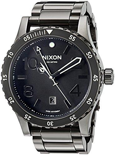 Nixon Homme 45mm Bracelet & Boitier Acier Inoxydable Gris Quartz Cadran Bleu Analogique Montre...