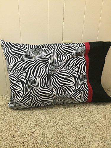 Zebra print w red - Handmade, 100% Cotton Pillowcase or Pillow cover, QUEEN size pillowcase - made item, ready to ship, pillow case