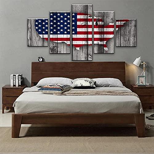 BHJIO Cuadro sobre Lienzo - 5 Piezas Mapa De Bandera - Cuadro De Pintura Póster De Arte Moderno Oficina Sala De Estar O Dormitorio Decoración del Hogar Arte De Pared 80X150Cm