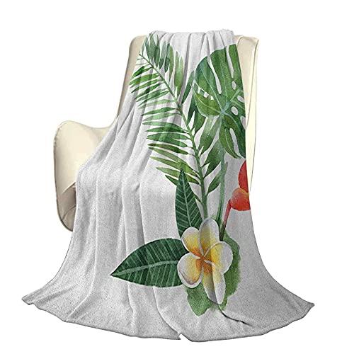 Planta Manta Decorativa cálida súper Suave Hermoso Frangipani floreciendo en Helecho Tropical Arte exótico Acuarela Hermosa decoración para el hogar W60 x L50 Inch Scarlet Fern Green Marigol