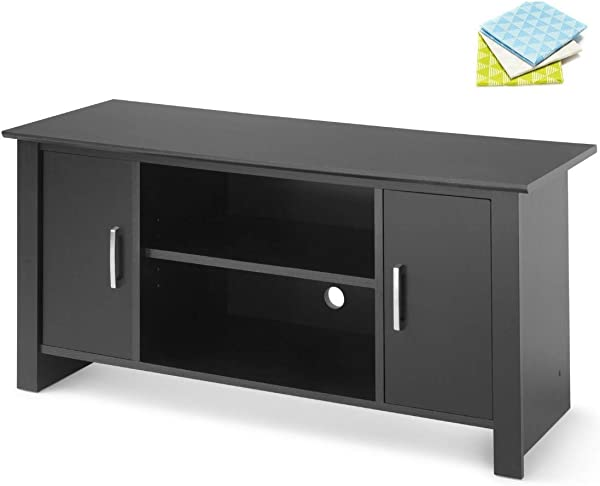 Mainstay TV Stand For Flat Screen TVs Up To 47 True Black Oak With 3 Cleaning Clothes