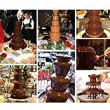 DIOE DIY Hauptschokoladenfondue, Minischokoladenbrunnen, dreischichtige Edelstahlschokoladen-Wasserfall-Maschine, Höhe 23.5CM, Schwarz - 3