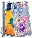 IN4U Galaxy A30 ケース Galaxy A20 ケース フルボディ ミリタリーグレード 耐衝撃 3イン1 花……