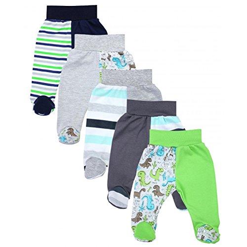 TupTam Baby Unisex Hose mit Fuß Bunte 5er Pack, Farbe: Junge 3, Größe: 62
