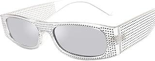 DovSnnx - DovSnnx Gafas De Sol Unisex para Hombres Y Mujers Polarizadas Protección 100% Uv400 Clásico Vintage Moda Sunglasses Lente De Mercurio De Marco Transparente De Diamante De Imitación
