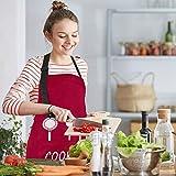 MengH-SHOP Schürze Unisex Kochschürze Wasserdicht Latzschürze mit 2 Taschen und Verstellbar Nackenband Professionell Kellnerschürze Backschürze Grillschürze Latzschürze (Rot) - 2