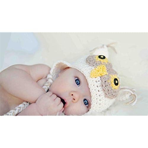 46b634b1279 Xikee Kids Baby Boy Girl Crochet Sleepy Owl Hat Beanie Photography Props