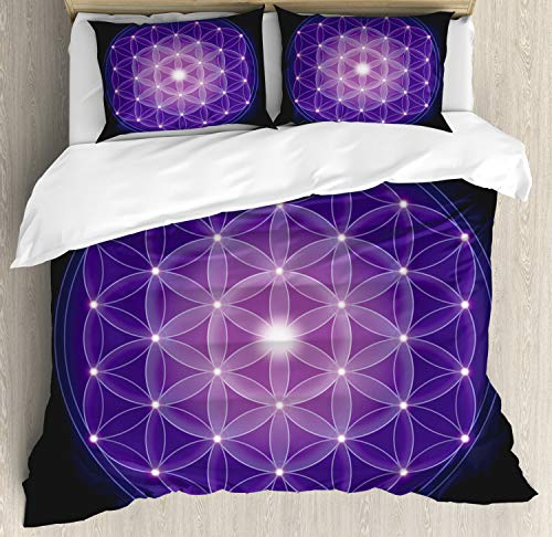 Ambesonne Dark Blue Duvet Cover Set, Flower of Life with Stars Geometry Print, Decorative 3 Piece Bedding Set with 2 Pillow Shams, Queen Size, Blue Purple