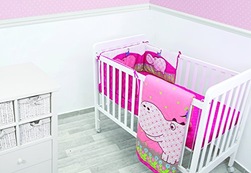 ToTs by Smartrike 240-110 Joy Hippo Parure de lit comprenant 1 couette, 1 couette, 1 tour de lit 32 x 176 cm, 1 drap-housse 140 x 70 cm Rose