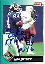 Zeke Mowatt autographed football card (New York Giants) 1991 Score #24T - NFL Autographed Football Cards