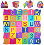 Kangler Kids Foam Puzzle Play Mat (36-Piece Set) 5.9inch x 5.9inch Interlocking EVA Floor Tiles with Alphabet and Numbers