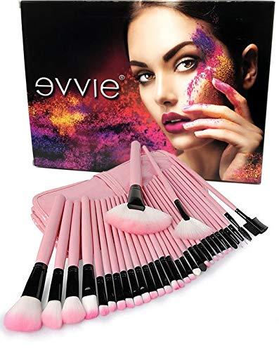 Evvie Lot de 32 pinceaux de maquillage Basic Collection - Rose - dans un étui de luxe