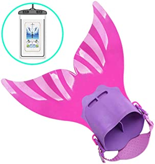 AmazeFan New Mermaid Swim Fins for Kids, Improved Strap Swimwear with Monofin, Swimming with Flipper Diving Fins …