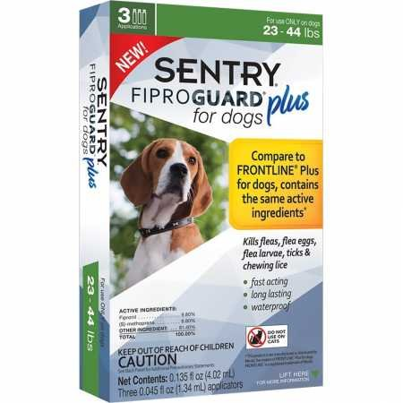 SENTRY Fiproguard Plus for Dogs, Flea and Tick Prevention for Dogs (23-44 Pounds), Includes 3 Month Supply of Topical Flea Treatments
