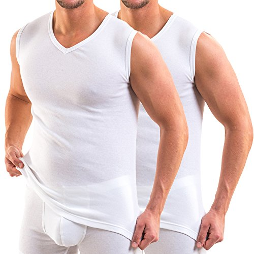 HERMKO 16050 2er Pack Herren Business Unterhemd mit V-Ausschnitt, Größe:D 4 = EU S, Farbe:weiß