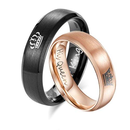 Bishilin Paarepreis Edelstahlring für Damen Herren King Queen Krone Verlobungsring Trauring Schwarz Rosegold Damen Gr. 57 (18.1) & Herren Gr. 60 (19.1)