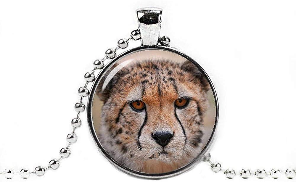 Dandelion Cheetah Necklace, Pendant Cheetah Jewelry, Cheetah Pendant Animals