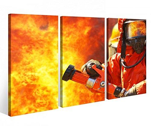 Leinwandbild 3 Tlg. Feuerwehrmann Feuer Feuerwehr Flamme Leinwand Bild Bilder Holz fertig gerahmt 9P828, 3 tlg BxH:120x80cm (3Stk 40x 80cm)