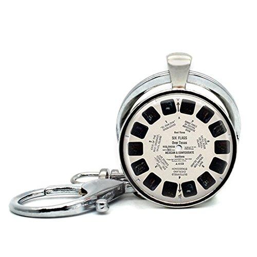 Handmade Keychain Vintage Reel Viewfinder Fads Geek Art Charm Pendant Car Circle Key Rings Gift Bag Hanging Buckle