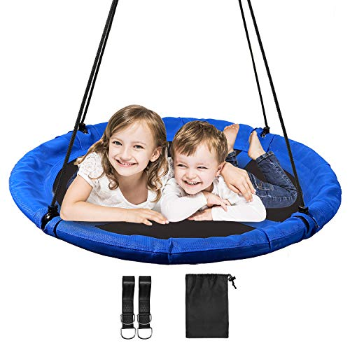 REDCAMP 43' Saucer Tree Swings for Kids and Adults, Heavy Duty Extra Large Round Swing for Swingset Outside Outdoor Playground Backyard, Blue