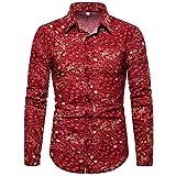 HDDFG Camisas informales de manga larga estampadas para hombres Verano Otoño Primavera Camisas de vestir masculinas Cool Man Plus Size Top (Color : A, Size : M code)