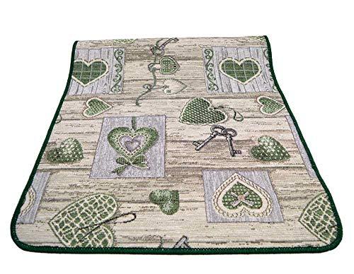 Centesimo Web Shop Tappeto GOMMATO in 7 Misure - Multiuso PASSATOIA Tappetino Cucina Fantasia Shabby Chic Cuori - - 55x190 cm Verde