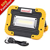 SUNZONE LED Work Light, Portable COB Flood Lights, Job Site Lighting,Builtin Rechargeable Battery Power Bank, IP55 Waterproof Rate for Outdoor Camping,Hiking,Car Repairing and SOS Emergency Mode