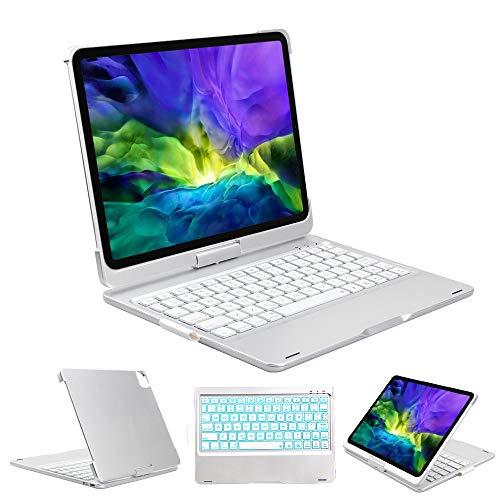 Funda para teclado iPad Pro 11 2020/2018 – Inalámbrico 7 colores retroiluminados 360 rotar automáticamente apagado y encendido 180 Flip Funda rígida para iPad Pro 11 2018 y 2020 2ª generación (plata)