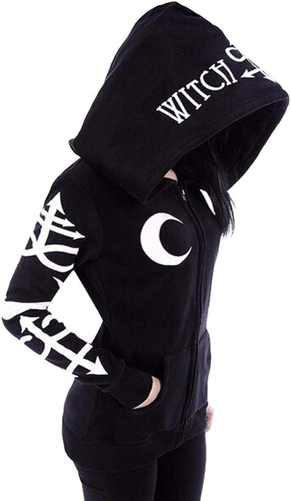 HUIKDY Women Loose Gothic Punk Long Sleeve Hooded Print Black Cardigan Jacket Coat