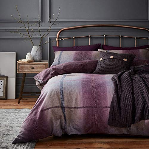 Catherine Lansfield Berwick Tweed Brushed King Duvet Set Plum