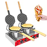 ALDKitchen Bubble Waffle Maker | Stainless Steel Double Egg Waffle Iron with Manual Thermostat | Nonstick Coating | 2 Large Hong Kong Waffles | 110V | 2.8kW