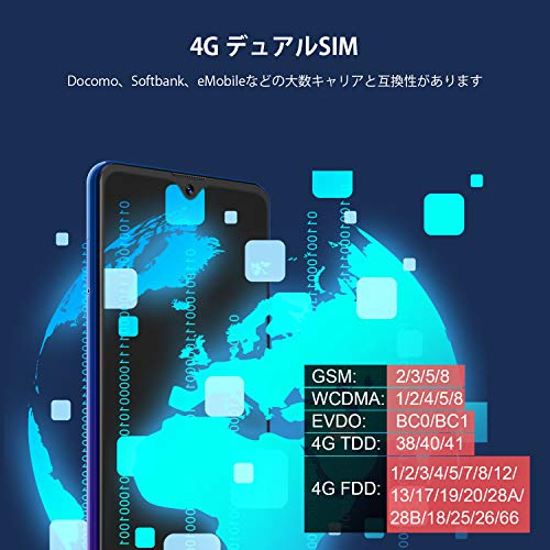 BlackviewA80ProSIMフリースマホ本体6.49インチ4GB+64GBAndroid10.0デュアルSIMスマートフォン携帯電話8MP+13MPカメラ【1年間保証】ブルー