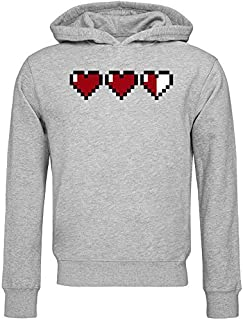 8 bit Pixel Hearts Video Game Health Bar Sudadera con Capucha Unisex