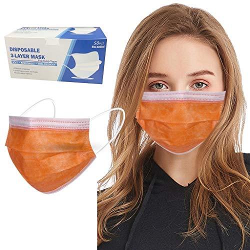 50 Stück Grün/Orange/Rot/Gelb Einmal-Mundschutz, Staubs-chutz Atmungsaktive Mundbedeckung, Erwachsene, Bandana Face-Mouth Cover Sommerschal (Orange)