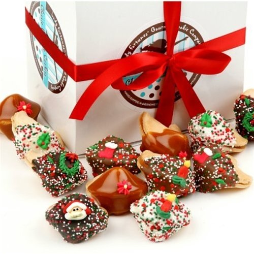 Christmas Hand-Dipped & Decorated Gourmet Fortune Cookies