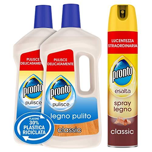 Pronto Kit Pulizia Superfici in Legno, Detergente Spray e Detergente Pavimenti, 2 Detergenti Pavimenti da 750ml e 1 Detergente Spray da 300ml