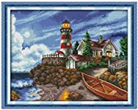 Cross Stitch Kits for Beginner 11CT Stamped Cross Stitch Embroidery Sets Seaside LighthouseHandicraft Cross-Stitch Supplies Needlework Gift for Home Decor-16x20 inch