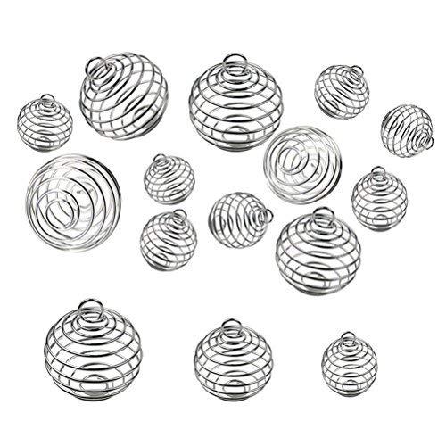 Rosenice - 30 piezas de perlas en espiral, colgantes para hacer joyas (plata)