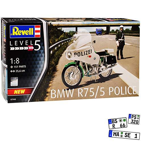 B-M-W R75/5 Polizei Police Weiss Grün 1941-1944 07940 Bausatz Kit 1/8 Revell Modell Motorrad mit oder ohne individiuellem Wunschkennzeichen