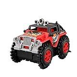 Fesjoy Auto elettrica per Bambini Flip Toy Car Cartoon Puzzle Autocarro con cassone Ribaltabile off-Road Rock Climber Climbing Red