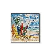 LIUZIXI Coloridas Tablas De Surf De Playa, Pintura Al Óleo sobre Lienzo, 100% Pintado A Mano, Abstracto, con Espátula, Imagen Artística, Decoración Moderna De Pared Grande para Sala De Estar, Do
