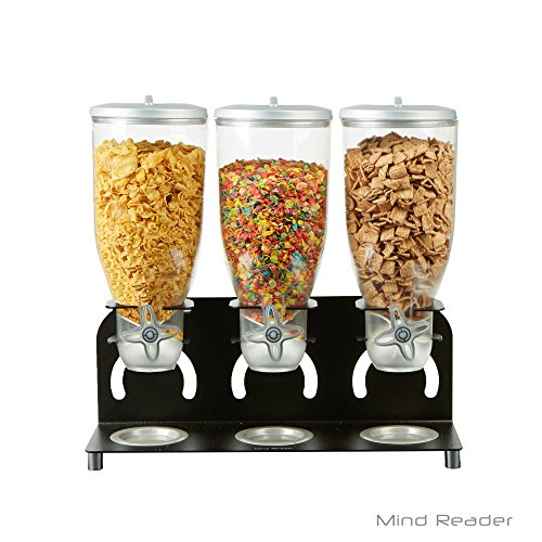 Mind Reader Metal Triple Cereal Dispenser, Black