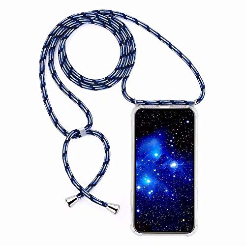 Bigcousin Funda con Cuerda Compatible con Huawei Honor 8X,Transparente de TPU con Ajustable Collar Cadena Cordón,Azul Claro