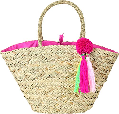 LaFiore24 Einkaufskorb Einkaufstasche Bahia Shopper Strandtasche IBIZA Korb Natur - Pink - Bommeln