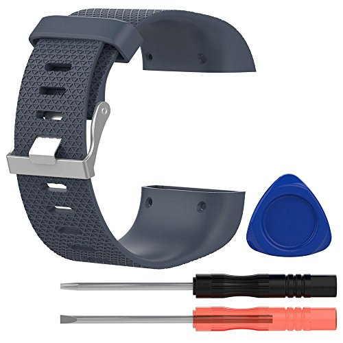 KOBWA Ersatzband For Fitbit Surge, Silikon Armband With Metall-Spange and 3 Stk Werkzeuge For Fitbit Surge (Rock - Blau, L)