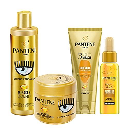 Pantene Pro-V by CHIARA FERRAGNI Balsamo 3 Minute Miracle, Rigenera & Protegge, 150 ml + Maschera 300 ml + Olio Secco 100 ml + Shampoo 225 ml, EDIZIONE LIMITATA