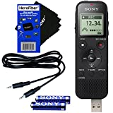 Sony ICD-PX470 Stereo Digital Voice Recorder with Built-in USB and 4GB + Compatible Auxiliary Cable, AAA Batteries & HeroFiber Ultra Gentle Cleaning Cloth, Compatible with Sony Recorder